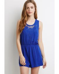 Forever 21 - Multicolor Floral-embroidered Romper - Lyst
