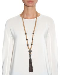 Zeus + Dione | Natural Jasper, Silver-Plated And Leather-Tassel Necklace | Lyst