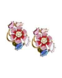 Betsey Johnson - Metallic Goldtone Flower Cluster Stud Earrings - Lyst