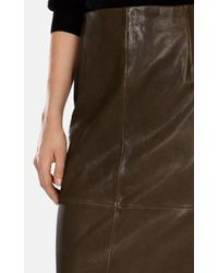 Karen Millen | Brown Leather Pencil Skirt | Lyst