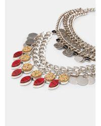 Mango - Metallic Stone Chain Necklace - Lyst