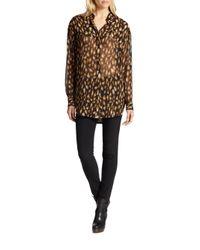 DKNY - Black Animalprint Silk Chiffon Blouse - Lyst