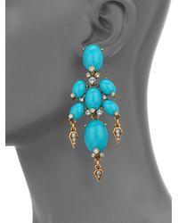 Oscar de la Renta - Blue Oval Cabochon Drop Earrings - Lyst
