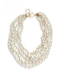 Anne Klein - Metallic Multistrand Faux Pearl Necklace - Blanc Pearl - Lyst