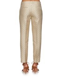 Etro | Metallic Geometric-jacquard Slim-leg Cropped Trousers | Lyst