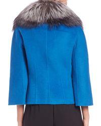St. John - Blue Fur-collar Jacket - Lyst