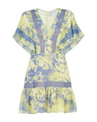 BCBGMAXAZRIA - Blue Karian V-neck Flutter-sleeve Dress - Lyst