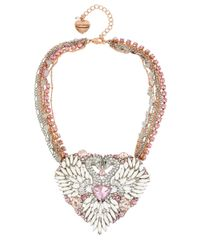 Betsey Johnson | Multicolor Ballerina Rose Swan Statement Necklace | Lyst