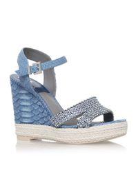 Gina - Blue Tati Python Wedge Sandal - Lyst