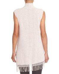 NIC+ZOE - Pink Fringed Sleeveless Turtleneck Sweater - Lyst