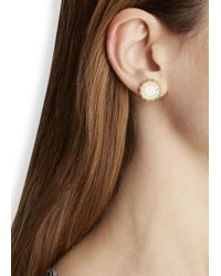 Marc By Marc Jacobs - Metallic Logo Disc-O Cream Enamel Stud Earrings - Lyst