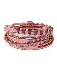 Nakamol | Pink Czech Crystal Beaded Wrap Bracelet | Lyst
