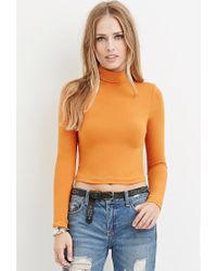 Forever 21 | Orange Turtleneck Crop Top | Lyst