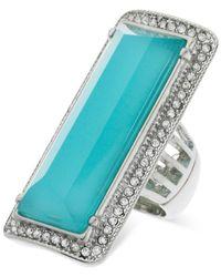 Guess | Metallic Silver-tone Rectangular Stone Stretch Ring | Lyst