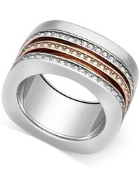 Swarovski | Metallic Two-tone Crystal Screw-on Stackable Ring | Lyst