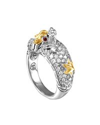 John Hardy - Metallic Naga Gold & Silver Diamond Slim Dome Ring - Lyst
