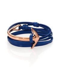 Miansai | Blue Half Anchor Cuff Leather Bracelet/Rose Goldtone | Lyst