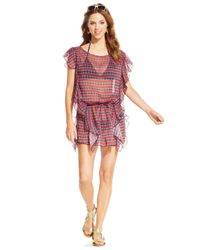 Jessica Simpson - Multicolor Printed Ruffles Swim Cover Up - Lyst