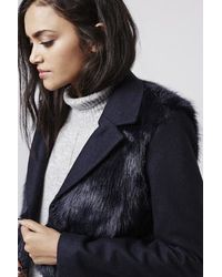 TOPSHOP - Blue Wool Blend Faux Fur Hybrid Coat - Lyst