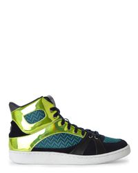 Just Cavalli - Blue Green & Navy High Top Sneakers for Men - Lyst