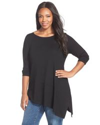 Eileen Fisher | Black Ballet Neck Asymmetrical Jersey Tunic | Lyst