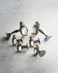 Jan Leslie - Black Marcasite Penguin Cuff Links & Studs Set - Lyst