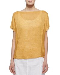 Eileen Fisher | Yellow Short-sleeve Organic Linen Top | Lyst