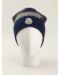 Moncler | Blue Camouflage Beanie for Men | Lyst