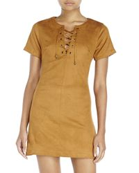 Re:named | Brown Lace-Up Faux Suede Dress | Lyst
