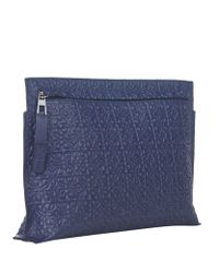 Loewe - Blue Large Logo Pouch for Men - Lyst