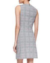 Theory - Gray Raneid Brant-check Sleeveless Dress - Lyst