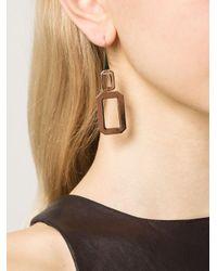 Rebecca | Metallic 'elizabeth' Square Drop Earrings | Lyst
