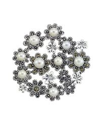 Lord & Taylor | Metallic 3mm White Freshwater Pearl Marcasite And Sterling Silver Flower Brooch | Lyst