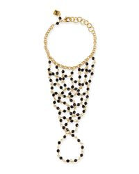 Rosantica | Metallic 24K Gold Onyx Beaded Hand Piece | Lyst