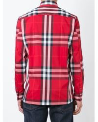 Burberry Brit | Red Nelson Tight-check Sport Shirt for Men | Lyst