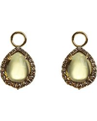 Annoushka | Green 18ct Yellow-gold, Olive Quartz And Diamond Earring Drops - For Women | Lyst