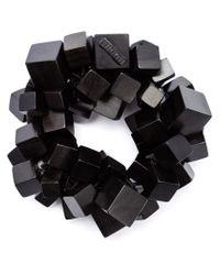Monies - Black Cube Beaded Bracelet - Lyst