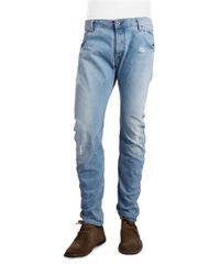 G-Star RAW   Blue Arc 3d Distressed Slim-straight Jeans for Men   Lyst