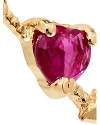 Loren Stewart | Pink Ruby & Yellow-Gold Heart Earrings | Lyst