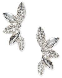 Anne Klein | Metallic Silver-tone Crystal Cluster Ear Cuff Earrings | Lyst