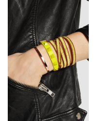 Valentino - Yellow Rockstud Small Neon Leather Bracelet - Lyst