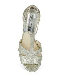 MICHAEL Michael Kors | Metallic Diana T Strap Heels | Lyst