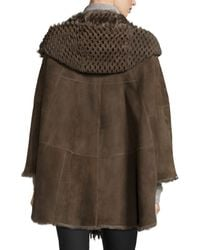 Gorski | Brown Hooded Perforated Lamb Shearling Fur Cape | Lyst