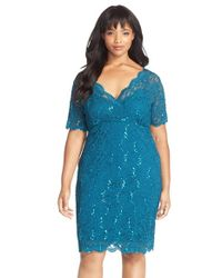 Marina | Blue Sequin Stretch Lace Cocktail Dress | Lyst