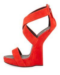 Giuseppe Zanotti | Red Sculpted Wedge Crisscross Sandal | Lyst