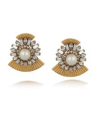 Elizabeth Cole | Metallic Gold-plated Swarovksi Crystal Earrings | Lyst