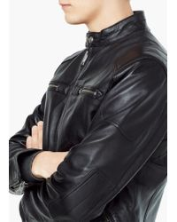 Mango - Black Leather Biker Jacket for Men - Lyst