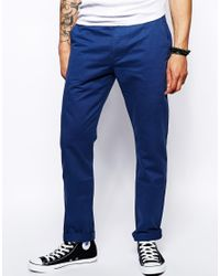 ASOS - Blue Straight Chinos for Men - Lyst