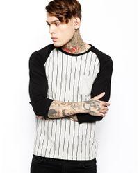 ASOS - Black Stripe 3/4 Sleeve T-shirt With Contrast Raglan Sleeves for Men - Lyst