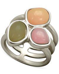T Tahari | Metallic Openwork Triple Stone Ring | Lyst
